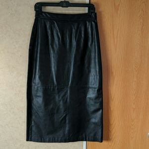 Black faux-leather size 16 midi skirt